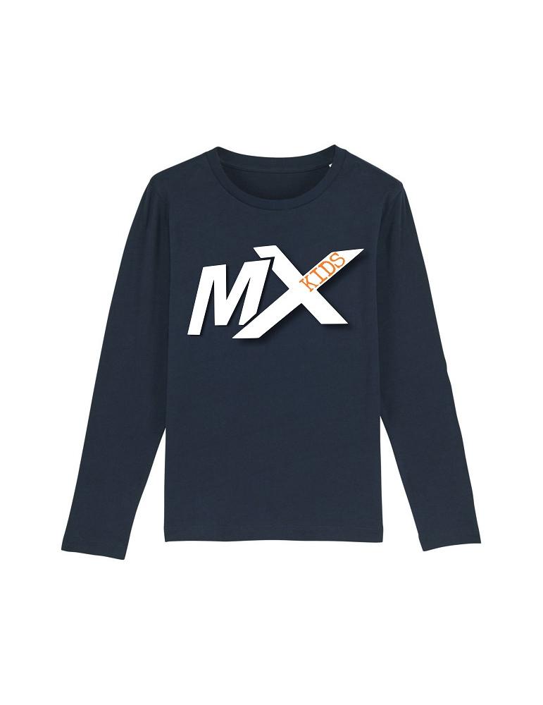 Tee-Shirt  Enfant BébéMotard - MX Kids (Bio) - Tee-shirt manches longues vue de face avec le motif - couleur french marine