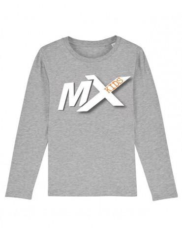 Tee-Shirt  Enfant BébéMotard - MX Kids (Bio) - Tee-shirt manches longues vue de face avec le motif - couleur gris