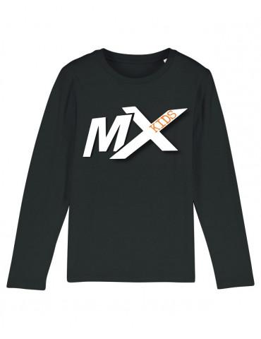 Tee-Shirt  Enfant BébéMotard - MX Kids (Bio) - Tee-shirt manches longues vue de face avec le motif - couleur noir