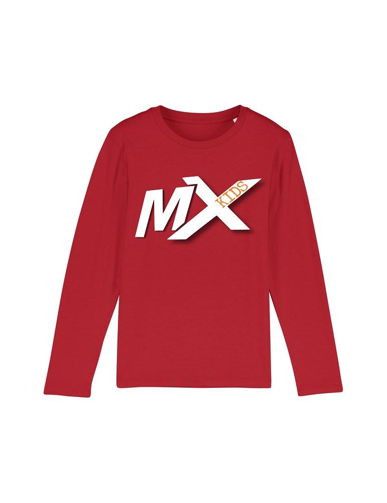 Tee-Shirt  Enfant BébéMotard - MX Kids (Bio) - Tee-shirt manches longues vue de face avec le motif - couleur rouge