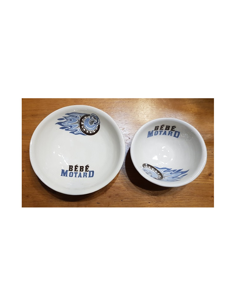 Set repas bébé Motard -  bol et assiette bleu