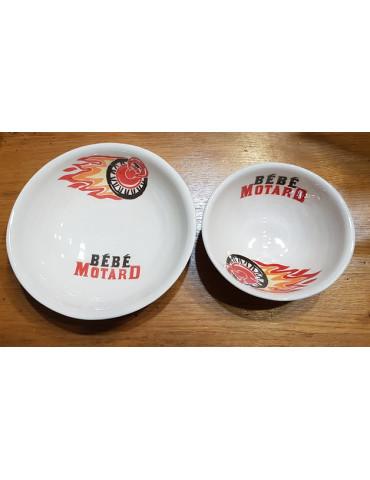 Set repas bébé Motard -  bol et assiette rouge