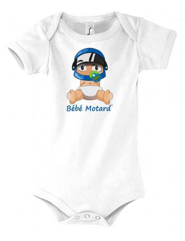 Body Bébé Motard - vue de face avec le Bébé Assis et son casque Casque Bleu - couleur blanc