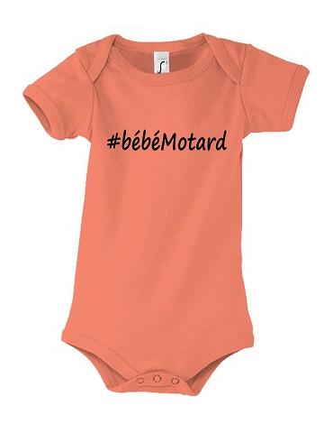 Body Bébé Motard - Hashtag Noir - vue de face corail