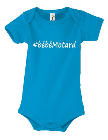 Body Bébé Motard - Hashtag Blanc - vue de face aqua
