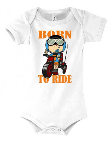 Body Bébé Motard Born to Ride - Vue de face blanc