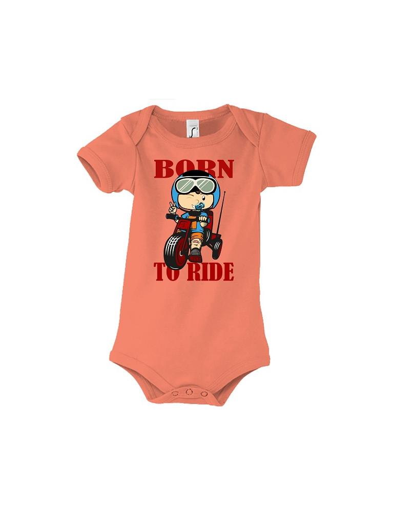Body Bébé Motard Born to Ride - Red - Vue de face corail