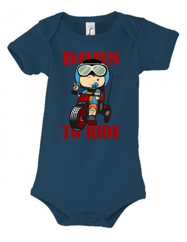 Body Bébé Motard Born to Ride - Red - Vue de face french marine