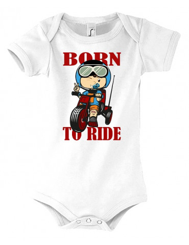 Body Bébé Motard Born to Ride - Red - Vue de face blanc