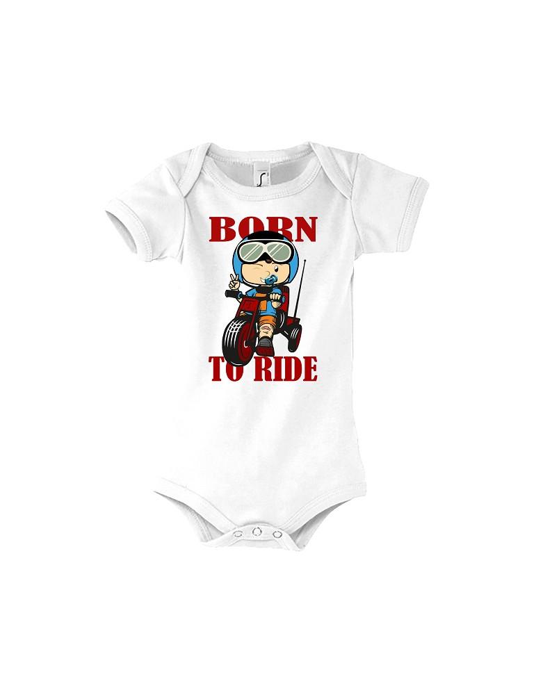 Body Bébé Motard Born to Ride - Red - Vue de face blanc