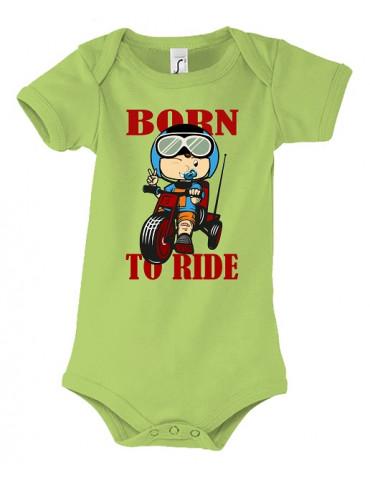 Body Bébé Motard Born to Ride - Red - Vue de face vert