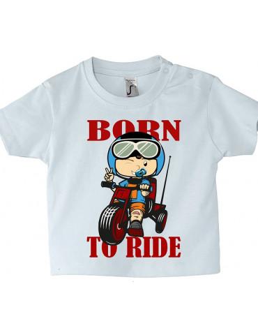 Tee Shirt Bébé Motard Mosquitos -  Born to Ride - vue de face - blanc