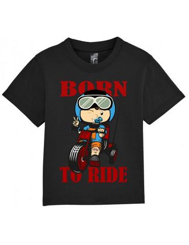 Tee Shirt Bébé Motard Mosquitos -  Born to Ride - vue de face - noir