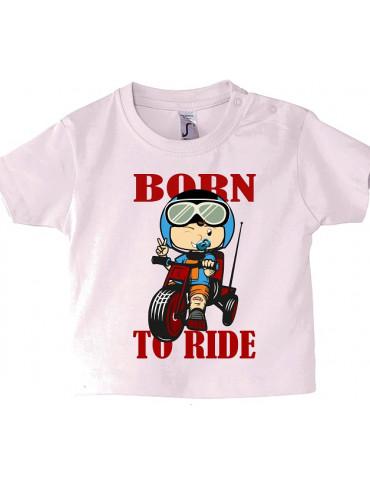 Tee Shirt Bébé Motard Mosquitos -  Born to Ride - vue de face - rose pale