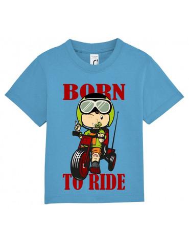 Tee Shirt Bébé Motard Mosquitos -  Born to Ride - vue de face - aqua