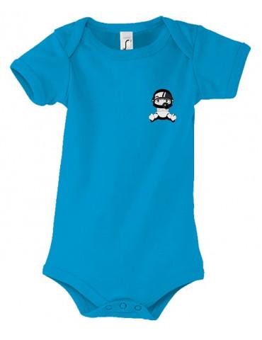 Body Bébé Motard Bambino - Personnalisable - Vue de face - aqua