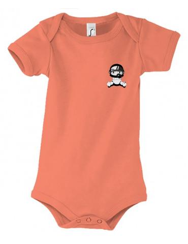 Body Bébé Motard Bambino - Personnalisable - Vue de face - corail