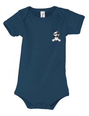 Body Bébé Motard Bambino - Personnalisable - Vue de face - french marine