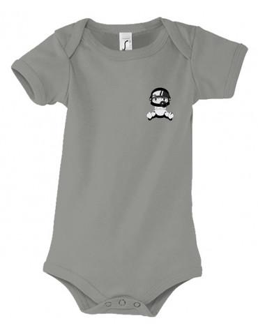 Body Bébé Motard Bambino - Personnalisable - Vue de face - gris