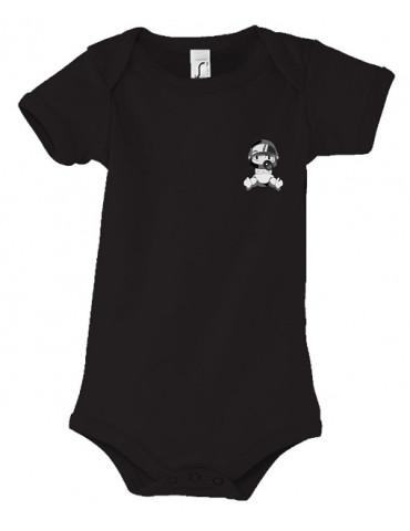 Body Bébé Motard Bambino - Personnalisable - Vue de face - noir