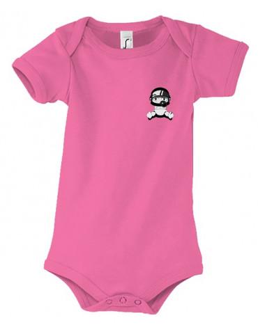 Body Bébé Motard Bambino - Personnalisable - Vue de face - rose