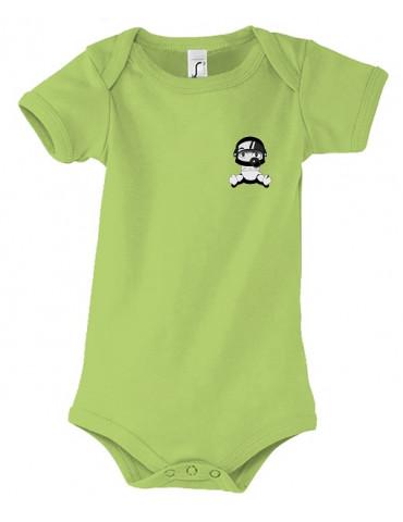 Body Bébé Motard Bambino - Personnalisable - Vue de face - vert
