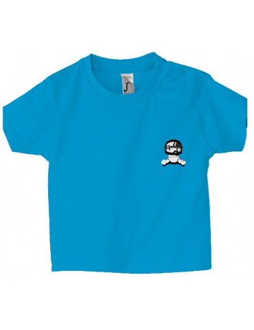 Tee Shirt Bébé Motard Mosquitos -  Personnalisable - Face bleu