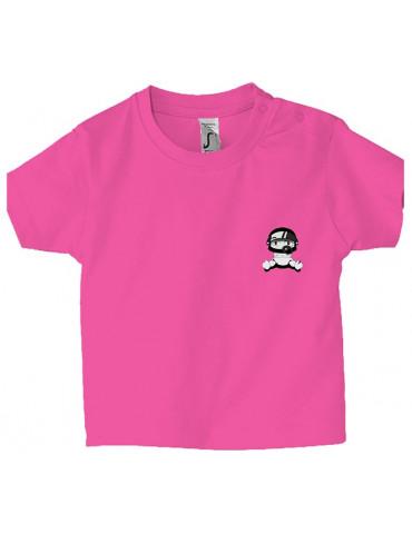 Tee Shirt Bébé Motard Mosquitos -  Personnalisable - Face rose