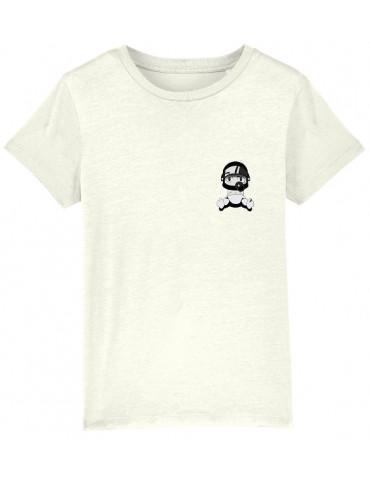 Tee-Shirt  Enfant BébéMotard - Personnalisable (Bio) - vue de face blanc