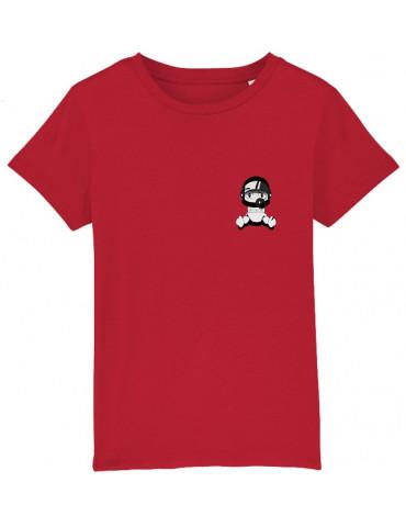 Tee-Shirt  Enfant BébéMotard - Personnalisable (Bio) - vue de face rouge