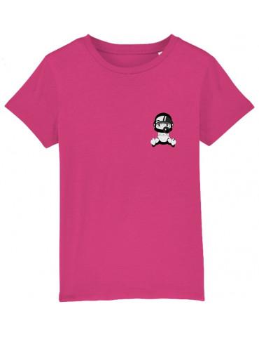 Tee-Shirt  Enfant BébéMotard - Personnalisable (Bio) - vue de face raspberry