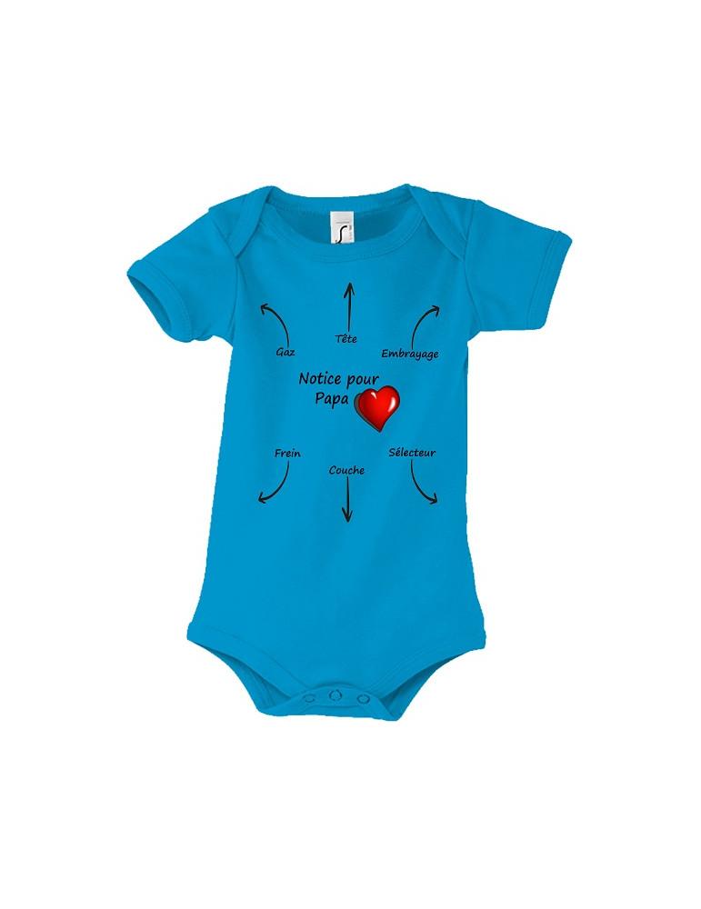 Body Bébé Motard Bambino - Notice pour Papa - Vue de face aqua