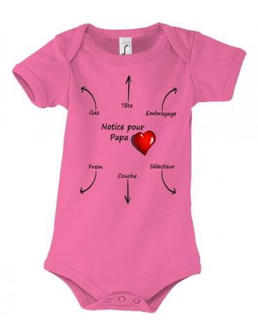 Body Bébé Motard Bambino - Notice pour Papa - Vue de face rose