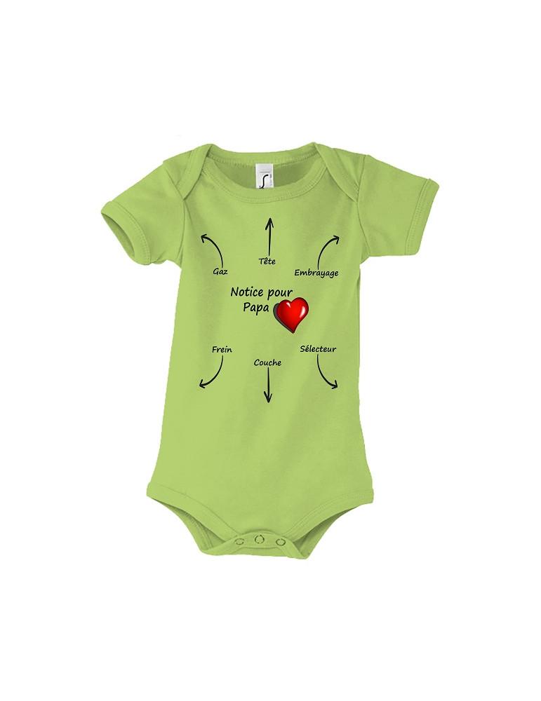 Body Bébé Motard Bambino - Notice pour Papa - Vue de face vert