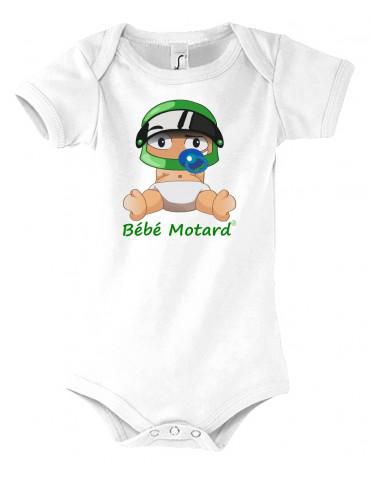 Pack Naissance Bébé Motard - Vert - Body bébé - Casque vert - Moto - Vue de face