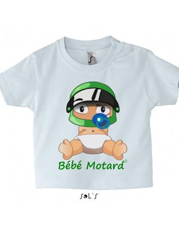 Pack Naissance Bébé Motard - Vert - Tshirt bébé - Casque vert - Moto - Vue de face