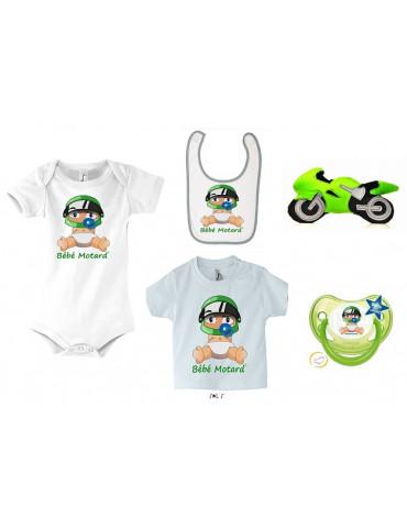Pack Naissance Bébé Motard - Vert - Body - tshirt - sucette - tétine - bavoir - moto
