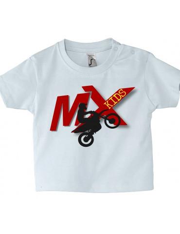 Tee Shirt Bébé Motard Mosquitos -  MX Kids - moto - vue de face - blanc