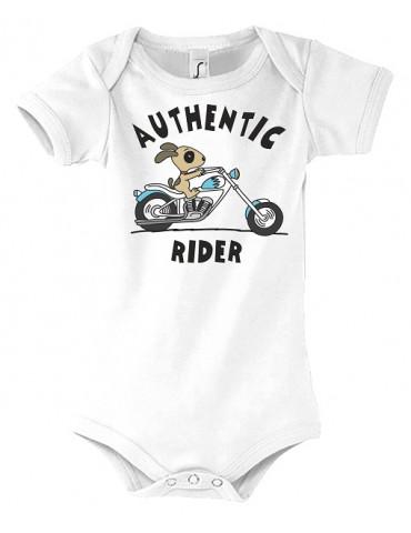 Body Bébé Motard Bambino - Authentic Rider - Vue de face - Blanc