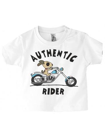 Tshirt Bébé Motard Mosquitos -  Authentic Rider - Vue de face - Blanc