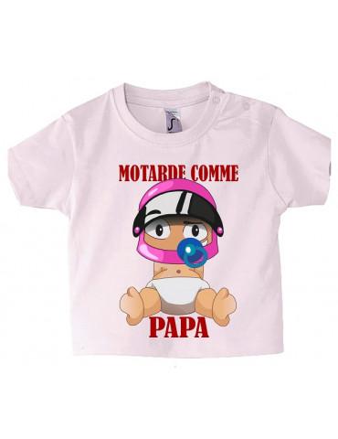Tee-Shirt bébé Mosquitos BébéMotard - Motarde comme Papa - face avant
