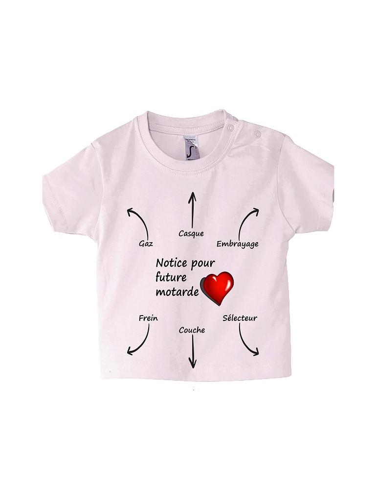 Tee-Shirt bébé Mosquitos BébéMotard - Notice pour Future Motarde - face rose pale