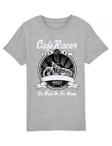 T-Shirt Enfant Go Fast or Go Home - Bébé Motard - Vue de face -  Gris