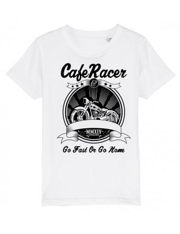 T-Shirt Enfant Go Fast or Go Home - Bébé Motard - Vue de face -  blanc