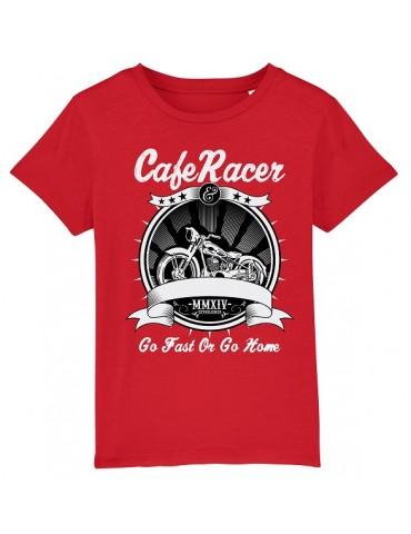 T-Shirt Enfant Go Fast or Go Home - Bébé Motard - Vue de face -  Rouge