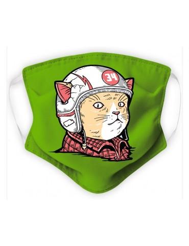 Masque Enfant en Tissu Lavable - Chat Casqué - green