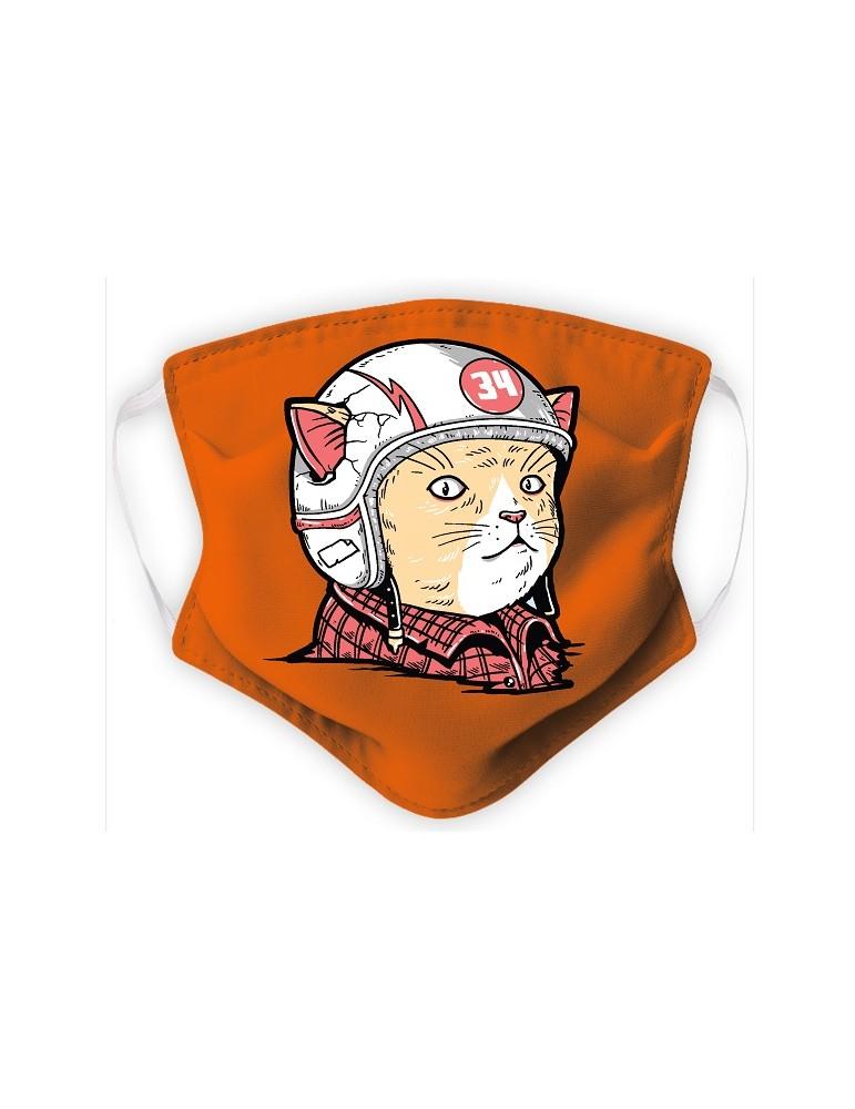 Masque Enfant en Tissu Lavable - Chat Casqué - orange
