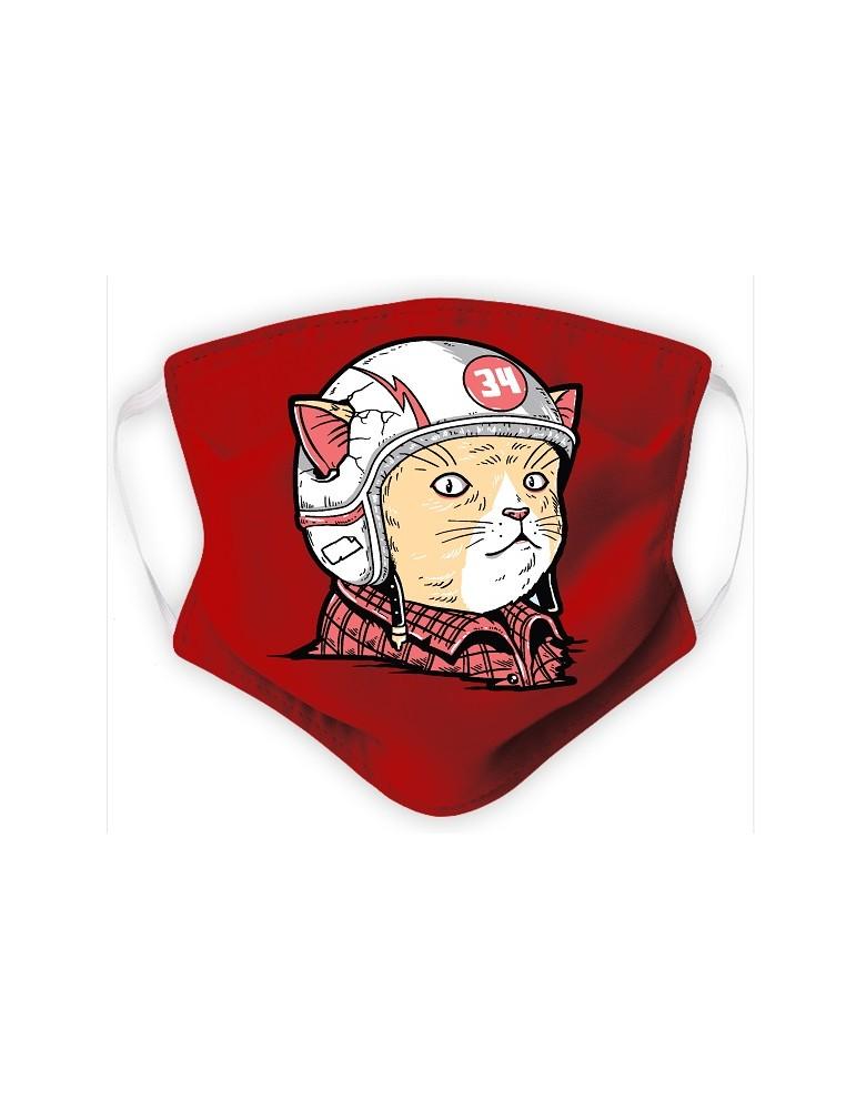 Masque Enfant en Tissu Lavable - Chat Casqué - rouge