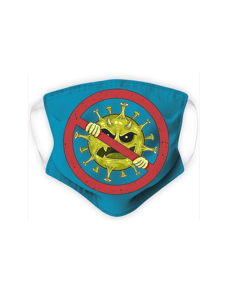 Masque Enfant en Tissu Lavable - Virus - aqua