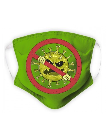 Masque Enfant en Tissu Lavable - Virus - green